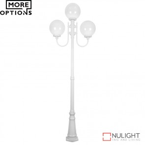 Gt 623 Lisbon Triple 30Cm Spheres Curved Arms Tall Post Light E27 DOM