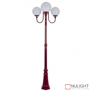 Gt 624 Lisbon Triple 25Cm Spheres Curved Arms Tall Post Light Burgundy Finish E27 DOM