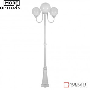Gt 624 Lisbon Triple 25Cm Spheres Curved Arms Tall Post Light E27 DOM