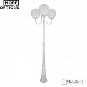 Gt 625 Lisbon Triple 30Cm Spheres Curved Arms Tall Post Light E27 DOM