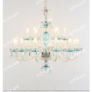 Large Blue Crystal Chandelier Citilux