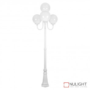 Gt 627 Lisbon Four 30Cm Spheres Curved Arms Tall Post Light White Finish E27 DOM