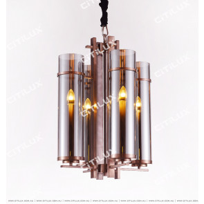 Modern Chinese Green Bronze Glass Small Chandelier Citilux