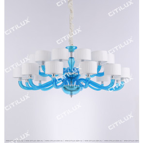Simple European-Style Lake Blue Primary Color Glass Large Chandelier Citilux