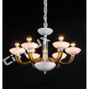 Simple European Glass Primary Color Glass White Jade Cover Chandelier Small Citilux