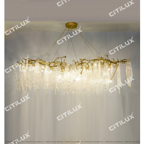 Full Copper Art Leaf-Shaped Long Chandelier Citilux