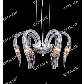 Modern Jellyfish Shaped Lead Glass Chandelier Small Citilux