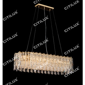 Golden Crystal Long Dining Chandelier Citilux