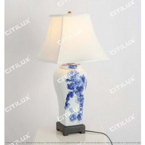 Chinese Art Ceramic Blue And White Table Lamp Citilux