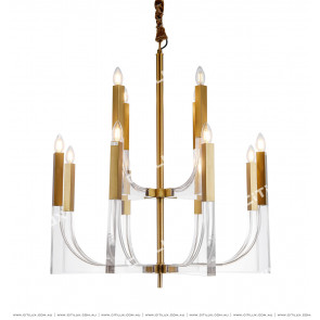 Modern Line Acrylic Stainless Steel Double Chandelier Citilux