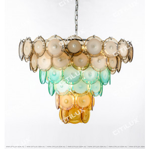 Modern Light Luxury Color Jade Glass Round Chandelier Large Citilux