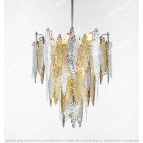 Modern Handmade Glass Gold And Silver Two-Color Chandelier Small Citilux