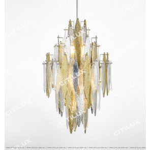 Modern Handmade Glass Gold And Silver Two-Color Chandelier Citilux