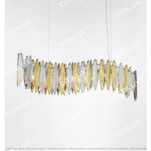 Modern Handmade Glass Gold And Silver Two-Color Wavy Dining Chandelier Citilux