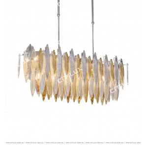 Modern Handmade Glass Gold And Silver Two-Color Rectangular Dining Chandelier Citilux