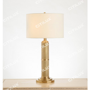 Classic American All-Copper Striped Cylindrical Table Lamp Citilux