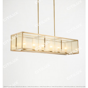 Simple Copper Classic Gauze Long Dining Chandelier Citilux