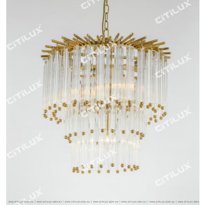 Simple American All-Copper Glass Rod Chandelier Small Citilux