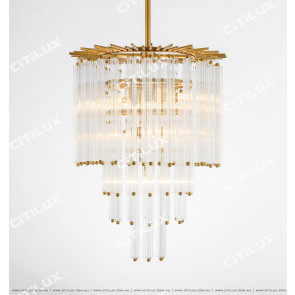 Simple American All-Copper Glass Rod Chandelier Medium Citilux