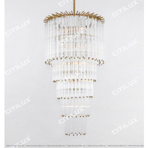 Simple American All-Copper Glass Rod Chandelier Large Citilux