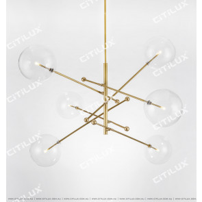 Copper Minimalist Transparent Glass Ball Chandelier Citilux