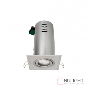Riess Square Gimbal Downlight Gu10 Inc Heat Can-Brushed Aluminium BRI