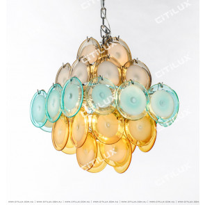 Modern Light Luxury Colored Jade Glass Square Chandelier Small Citilux