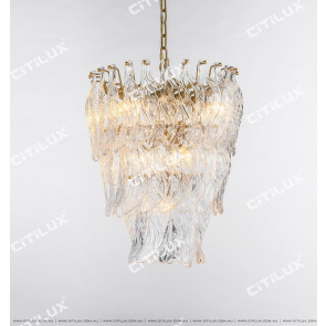 Modern Handmade Leaf Shaped Glass Small Chandelier Citilux