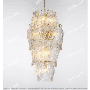 Modern Handmade Leaf Shaped Glass Leisure Chandelier Citilux