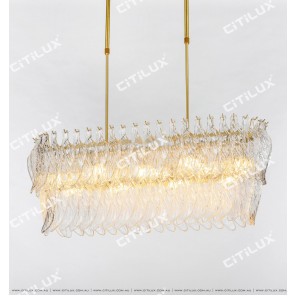Modern Handmade Leaf-Shaped Glass Chandelier Citilux