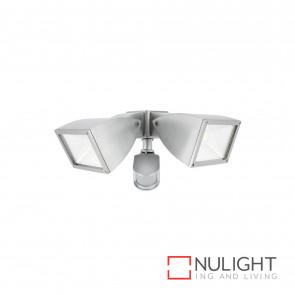 Strand Modern 2X10W Led Floodlight With Sensor Brushed Aluminium BRI