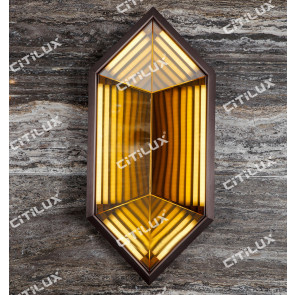 Gem-Shaped Amber Disc Shadow Wall Lamp Citilux