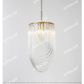 Modern Clear Curved Crystal Pendant Light Citilux