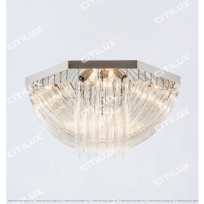 Modern Transparent Curved Glass Ceiling Lamp Chrome Large Citilux