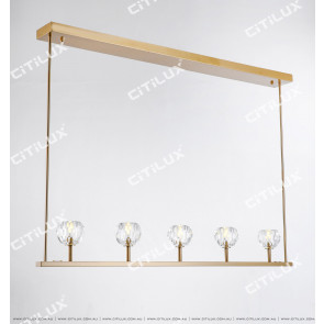 Simple Crystal Ball Long Single Row Chandelier Citilux
