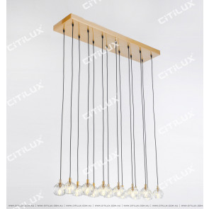 Simple Crystal Ball Long Double Row Chandelier Citilux