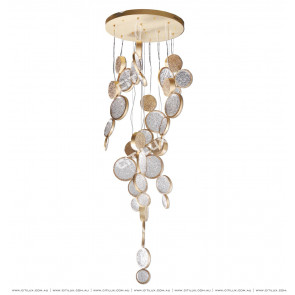 Full Copper Embossed Round Mosaic Chandelier Citilux