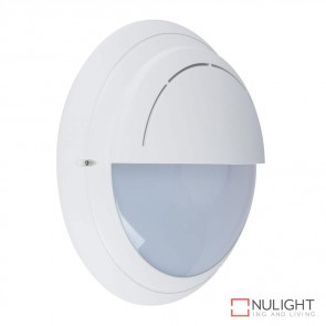 Vl 126990 Round Eyelid 240V Polycarbonate Wall Light White Finish E27 DOM