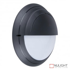 Vl 126691 Round Eyelid 240V Polycarbonate Wall Light Black Finish E27 DOM