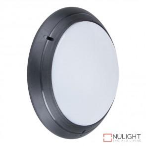 Vl 127491 Round 240V Polycarbonate Wall Light Black Finish E27 DOM