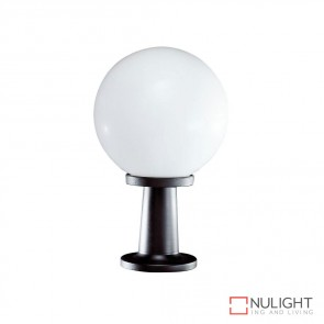 Vl 119251 250Mm Sphere And Pillar Mount 240V Polycarbonate Garden Light Black Base And Opal Sphere E27 DOM