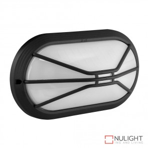Vl 127311 Oval Grille 240V Polycarbonate Wall Light Black Finish E27 DOM