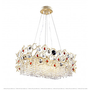 Full Copper Lantern-Shaped Crystal Long Dining Chandelier Small Citilux