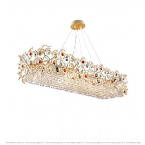 Full Copper Lantern-Shaped Crystal Long Dining Chandelier Citilux