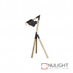 Kyoto Tripod Timber And Metal Table Lamp - Natural And Black BRI