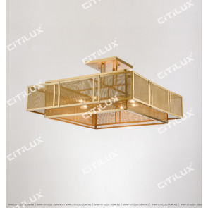 Chinese Stainless Steel Mesh Square Ceiling Lamp Large Citilux