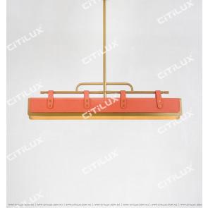 Hermes Orange Leather Desk Chandelier L1000 Citilux