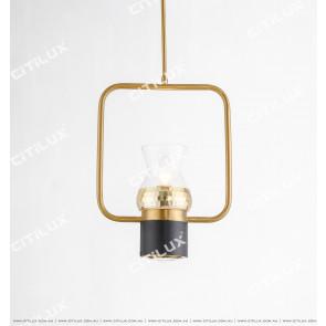 Black Plus Gold Bar Single Head Chandelier Vertical Citilux