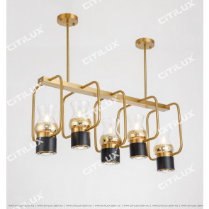 Black Plus Gold Bar Chandelier Citilux