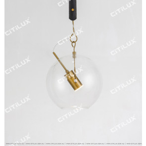 Glass Ball Led Single Head Leather Chandelier Citilux
